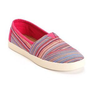 Toms Avalon Rasberry Stripe woven womens shoes 8.5